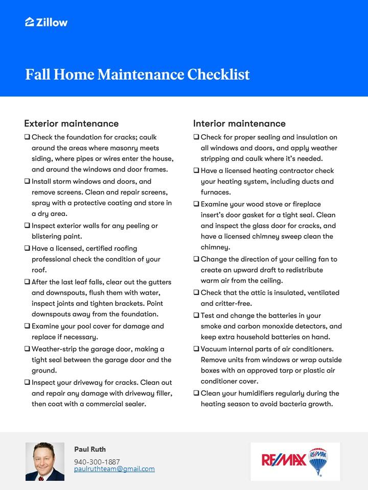 Home Service Checklist