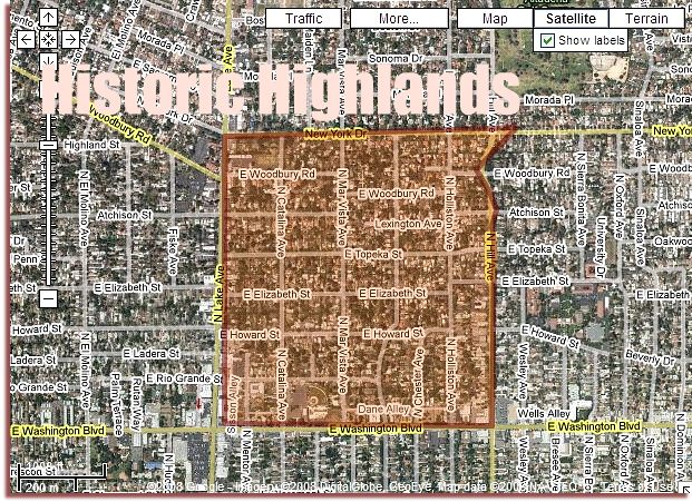 Historic Highlands - Pasadena California Map