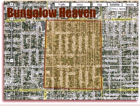 Bungalow Heaven - Pasadena California Map