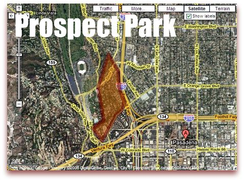 Prospect Park Pasadena Map