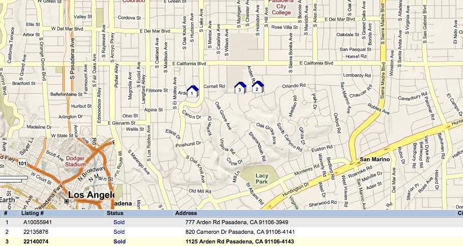 Map of 3 most expensive Pasaderna home sales