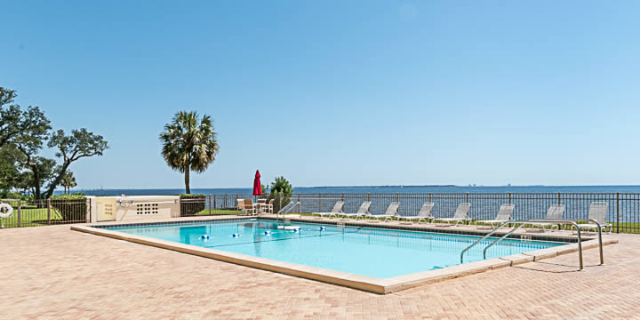 Swimming pool directly overlooking Pensacola Bay