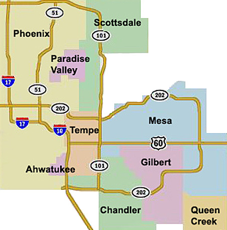 Map Of Arizona Showing Queen Creek.East Valley Map