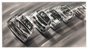 Black and white NASCAR cars on a track