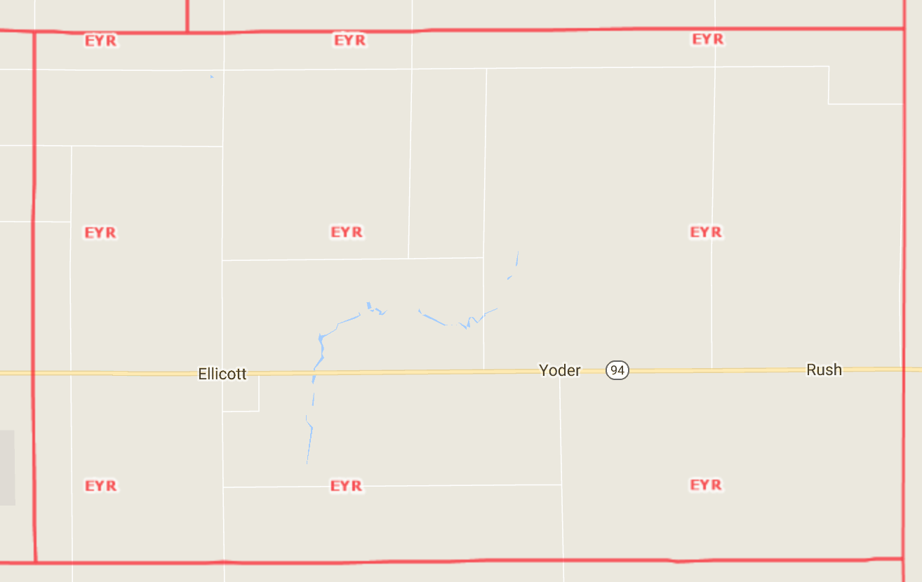 Ellicot/Yoder/Rush Area Map