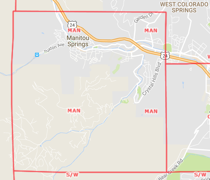 Manitou Springs Area Map