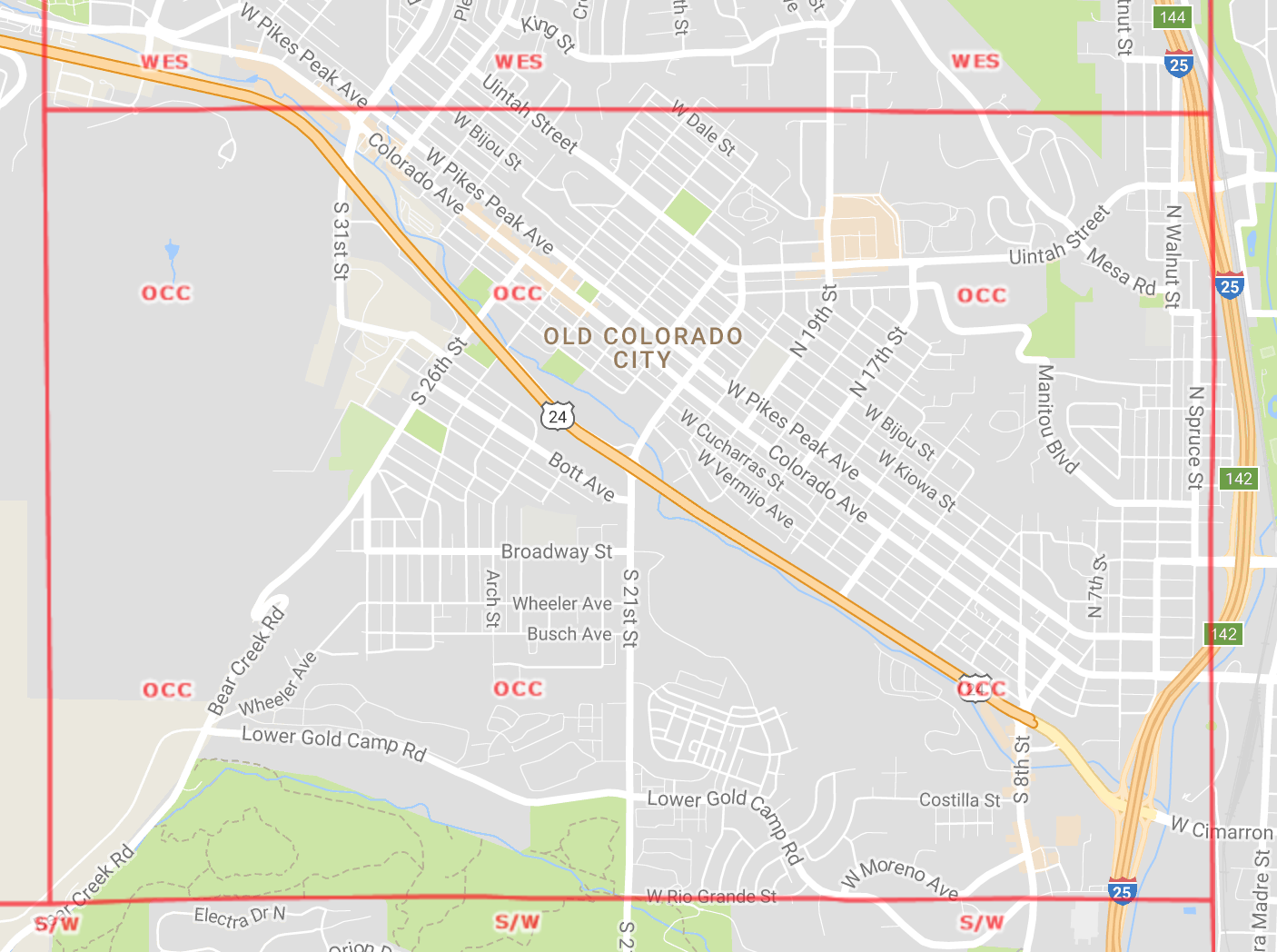 Old Colorado City Area Map