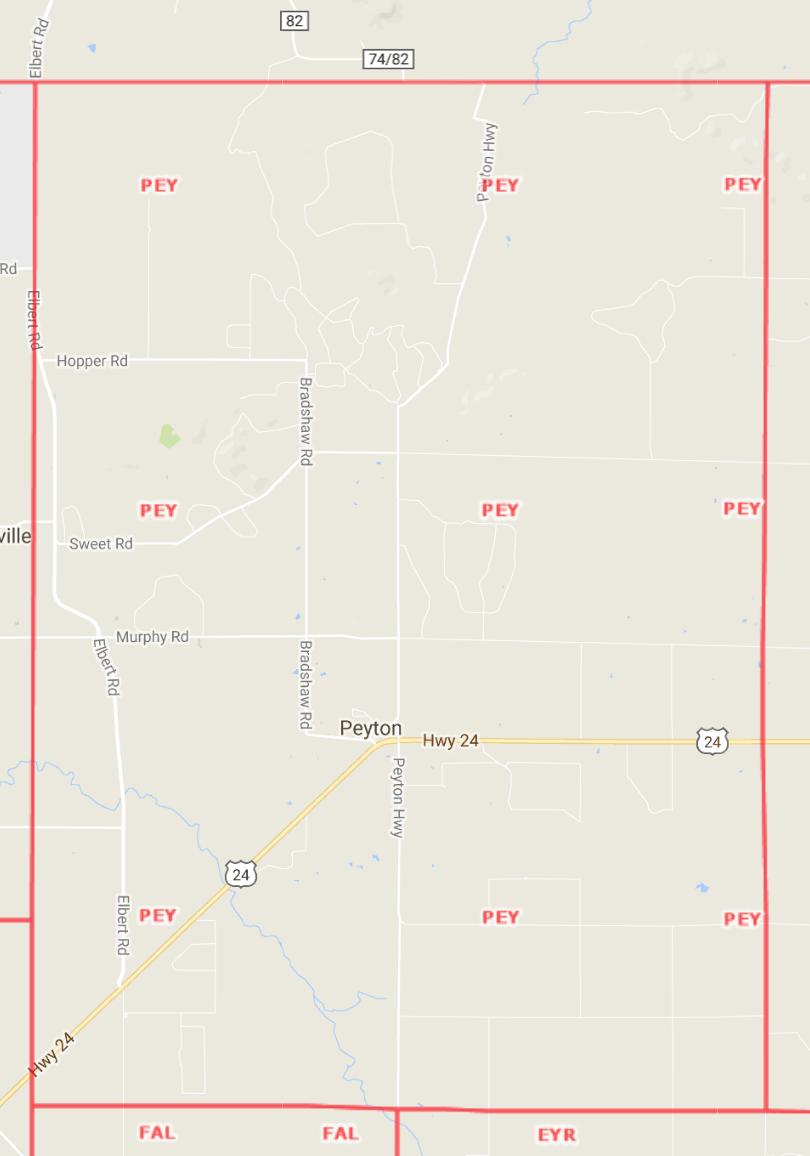 Peyton Area Map