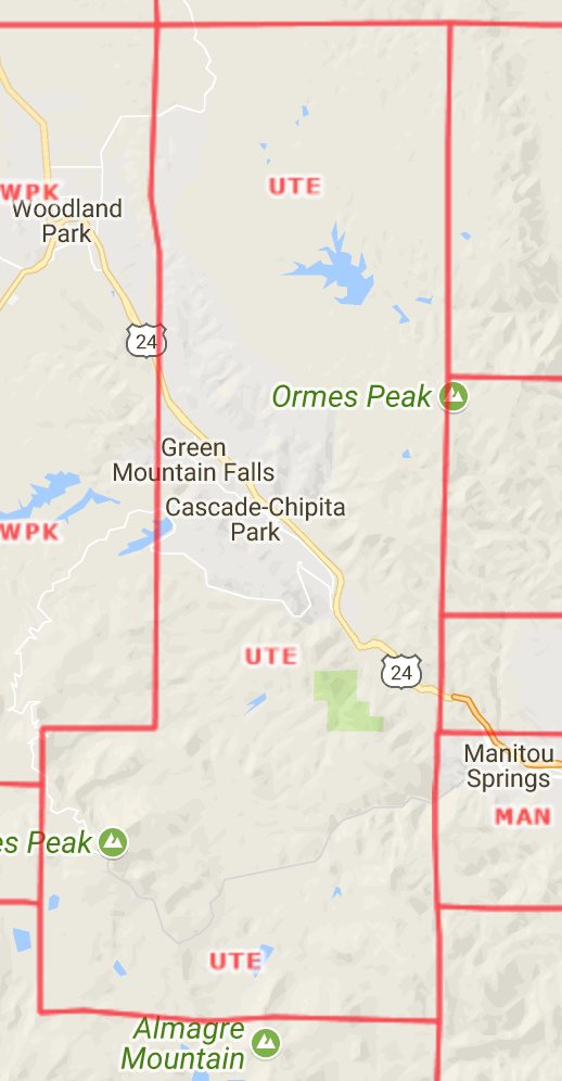 Ute Pass Area Map