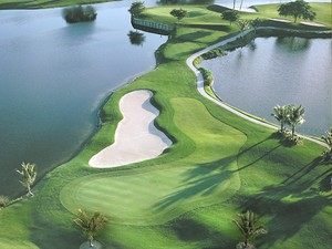 Top view of southwest florida golf course.