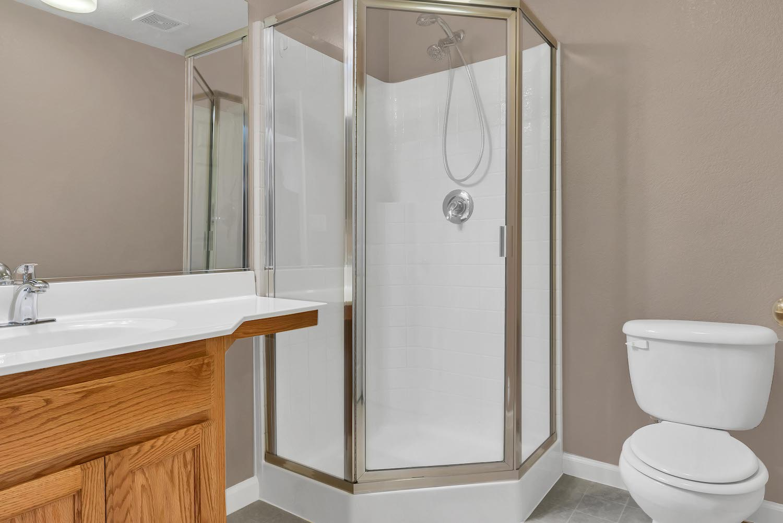 Downstairs bathroom of home at 5903 Lindsay Ct, Rocklin, Ca.
