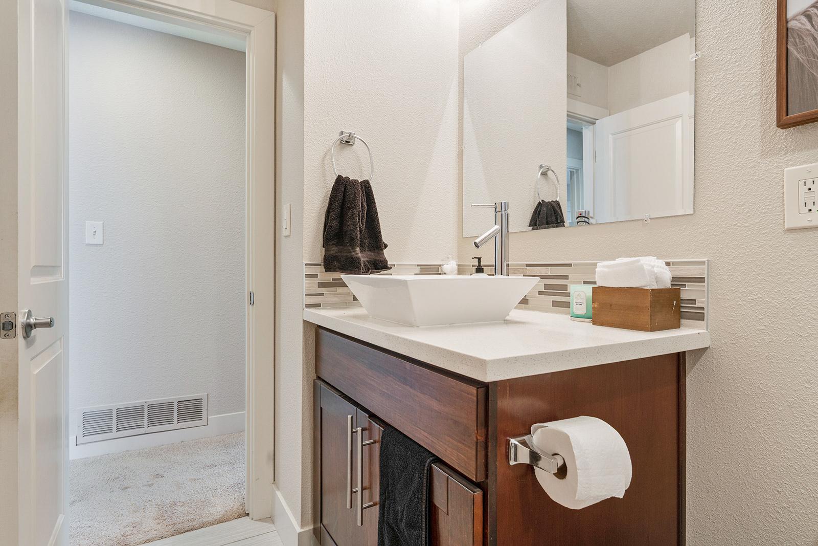 Upstairs hall bathroom of home at 6235 Everest Way, Sacramento, Ca.
