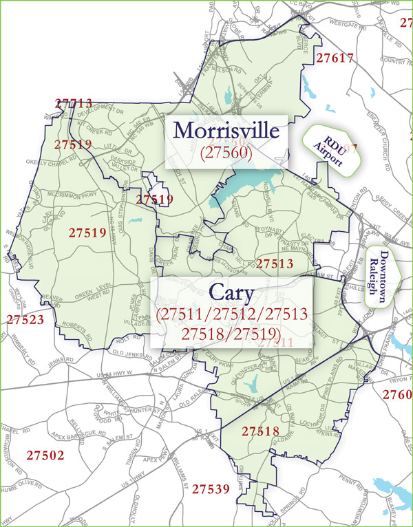 Cary Morrisville Zip Code Map