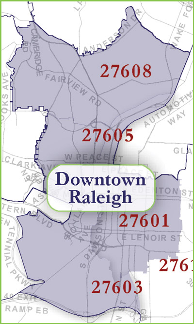 Downtown Raleigh Zip Code Map