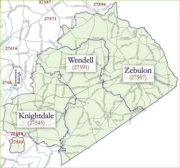 Knightdale Wendell Zebulon Zip Code Map