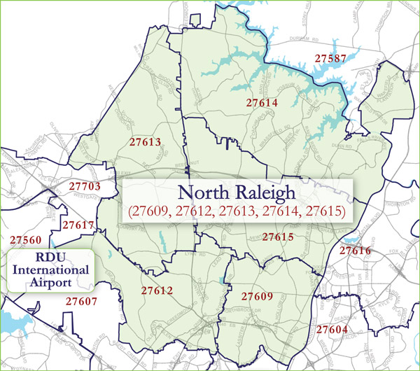 North Raleigh Zip Code Map