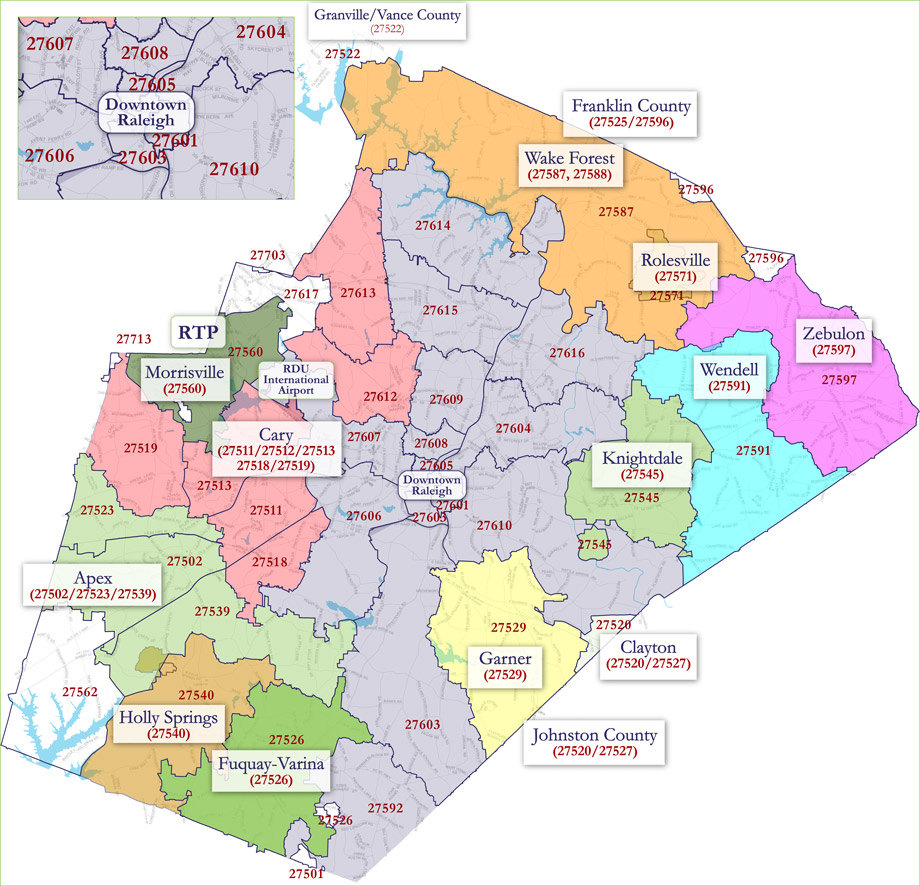 Fuquay Varina Zip Code Map.Raleigh Zip Code Map