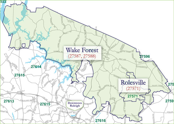 Wake Forest Zip Code Map | Campus Map