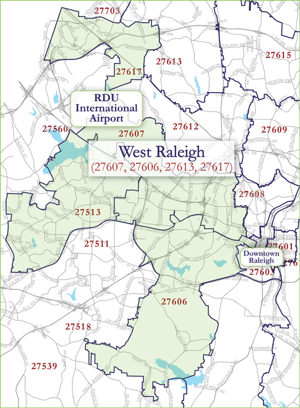 West Raleigh Zip Code Map