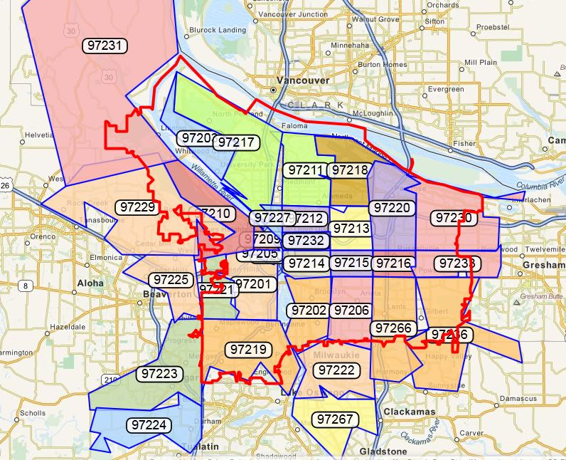 Zip Code Map Portland Portland Real Estate by Zip Code