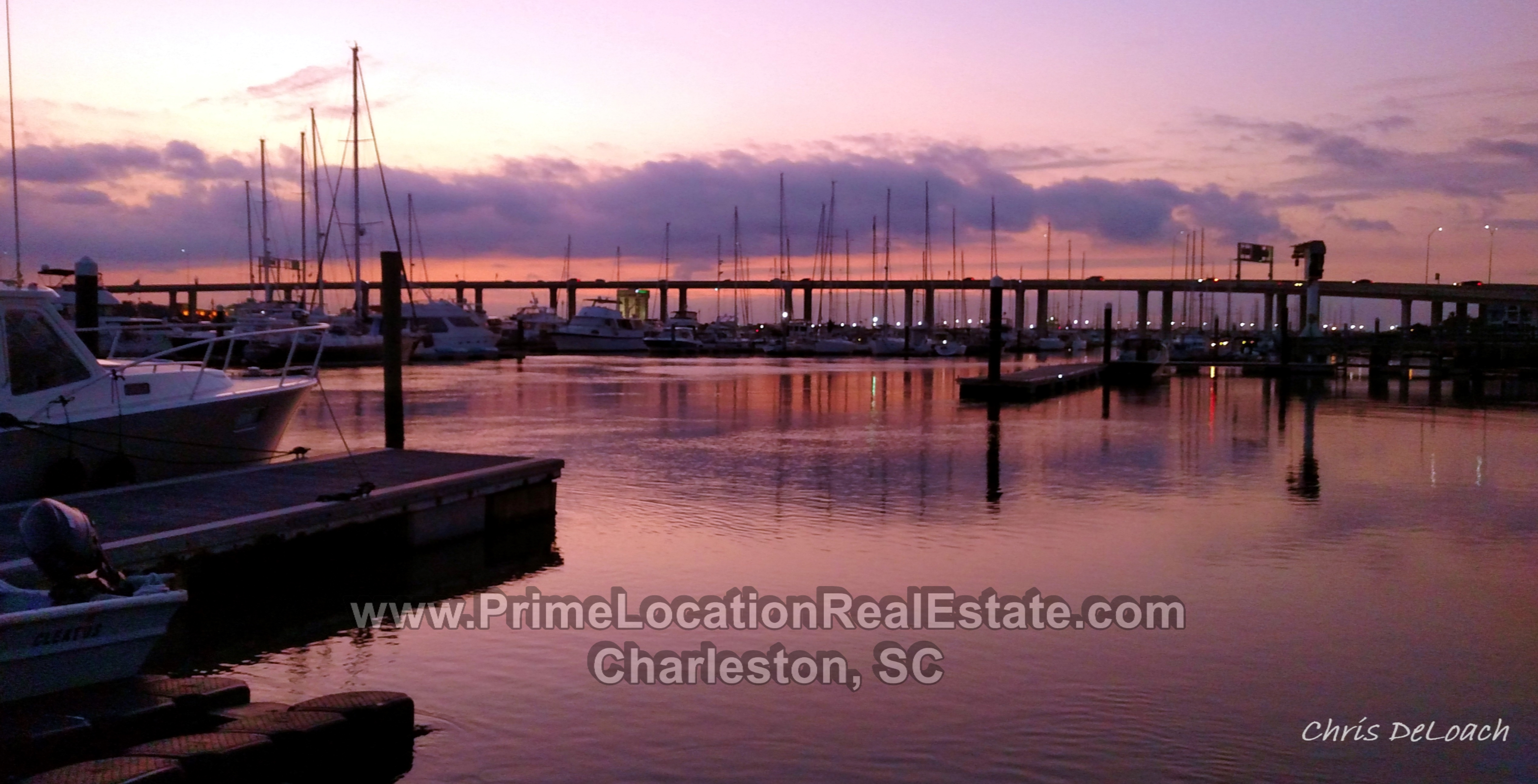 charleston city marina sunset