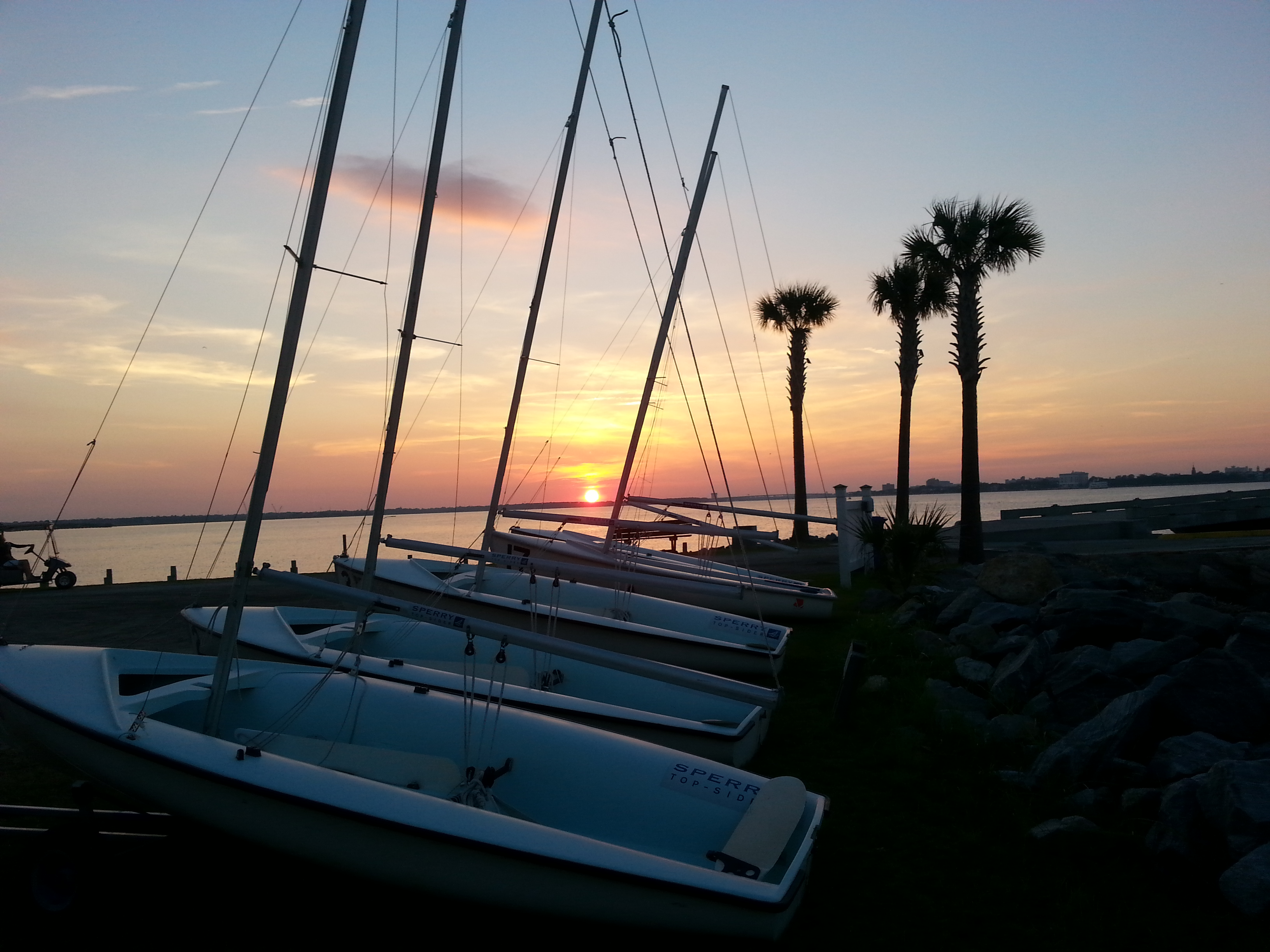 charleston harbor with sailboats at james island