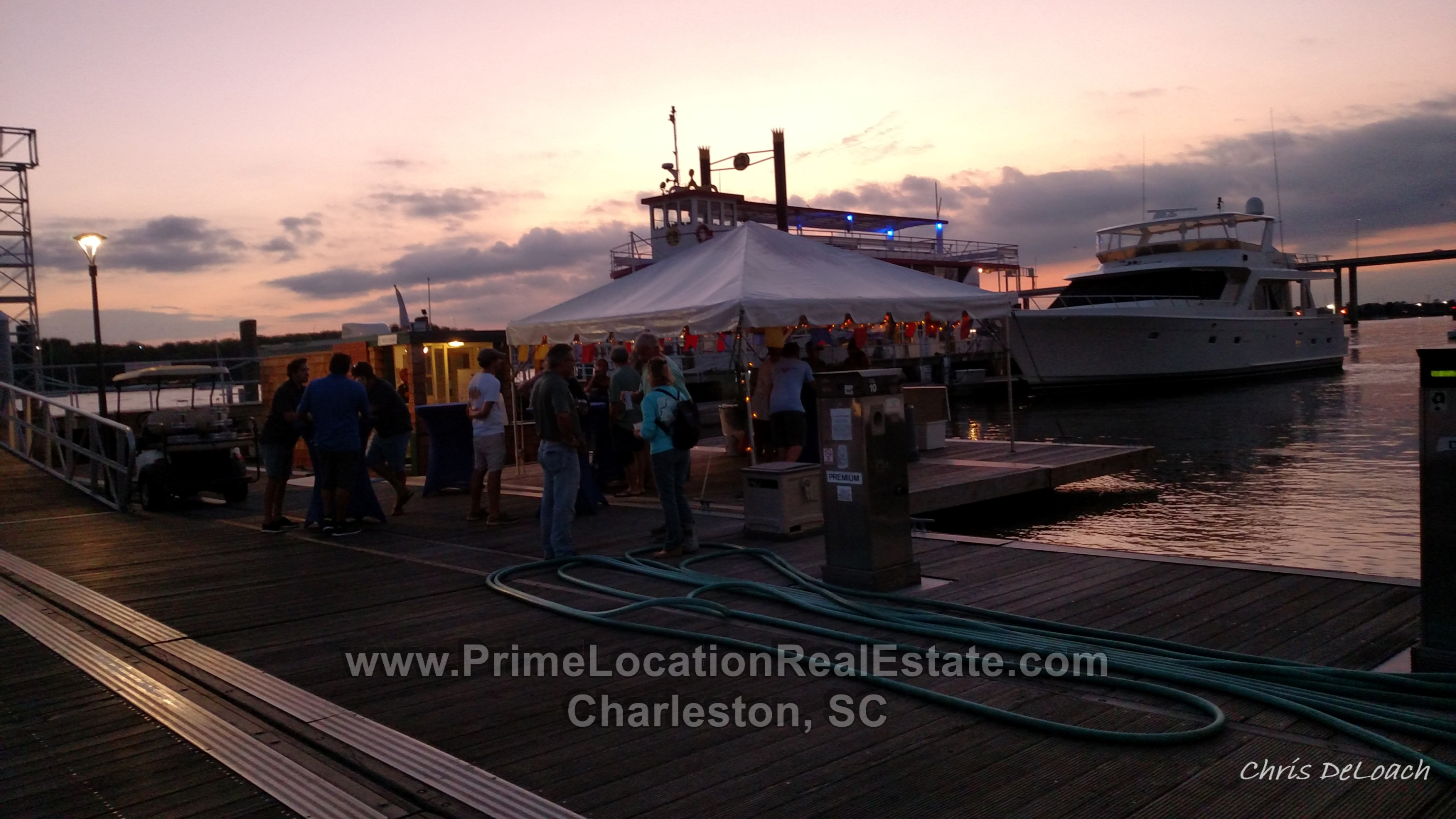 charleston city marina party on the dock