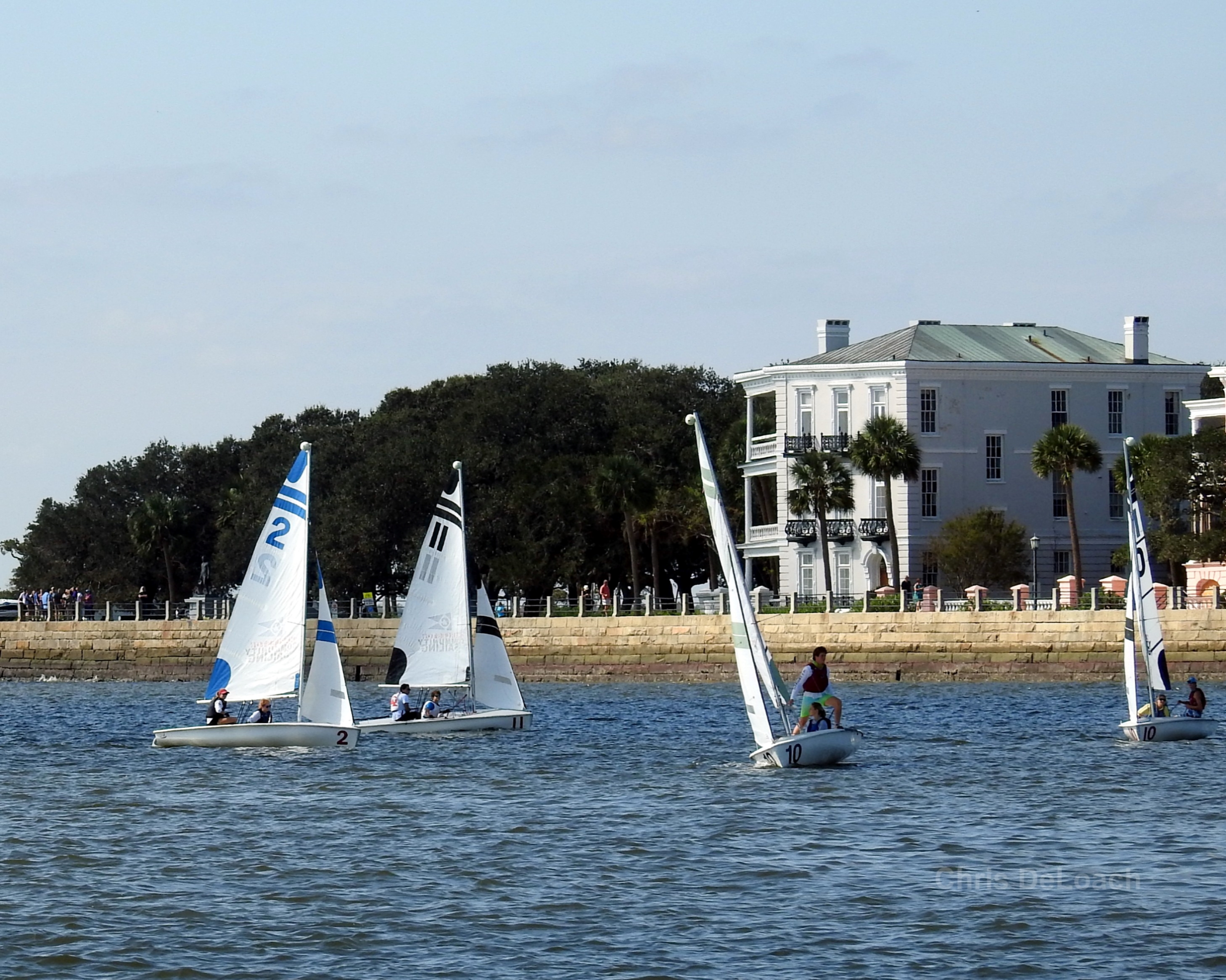 Sailing in Charleston South Carolina along the Charleston Battery