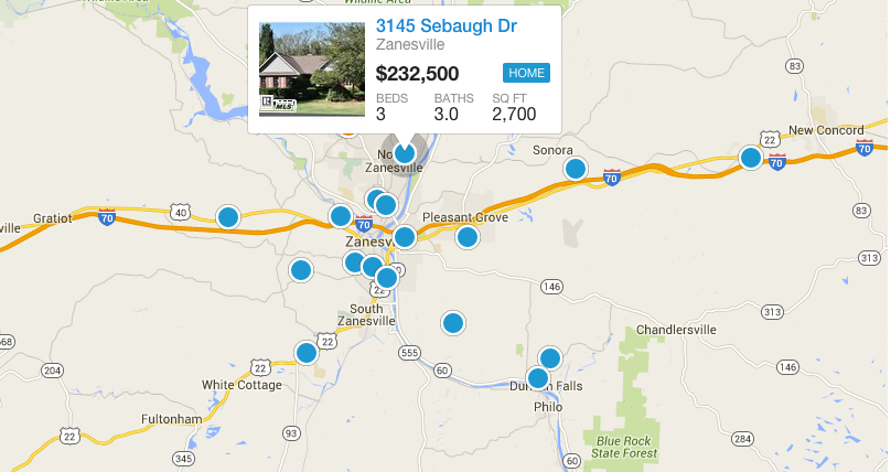 Search Zanesville Real Estate By Map