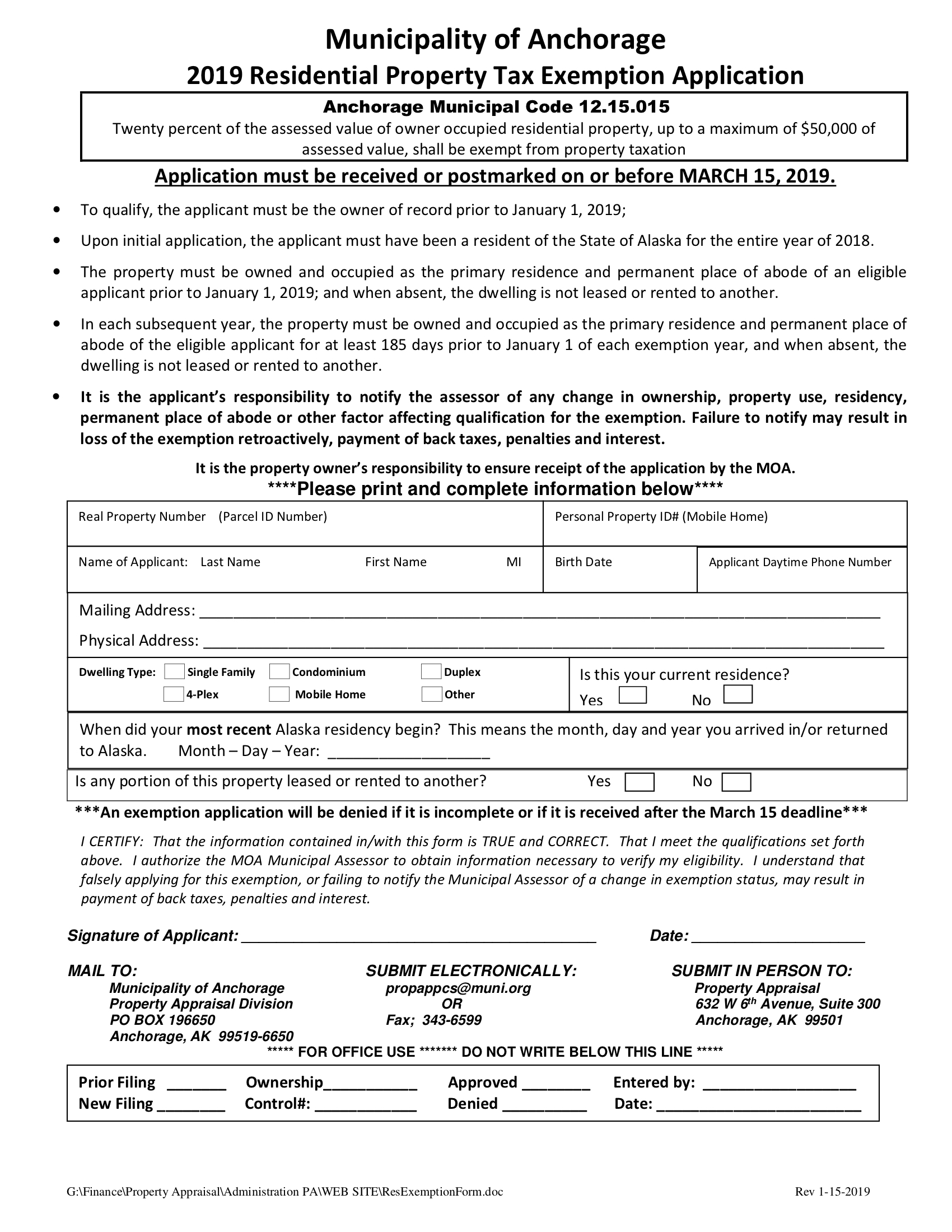 Anchorage 2019 Residential Tax Exemption Form