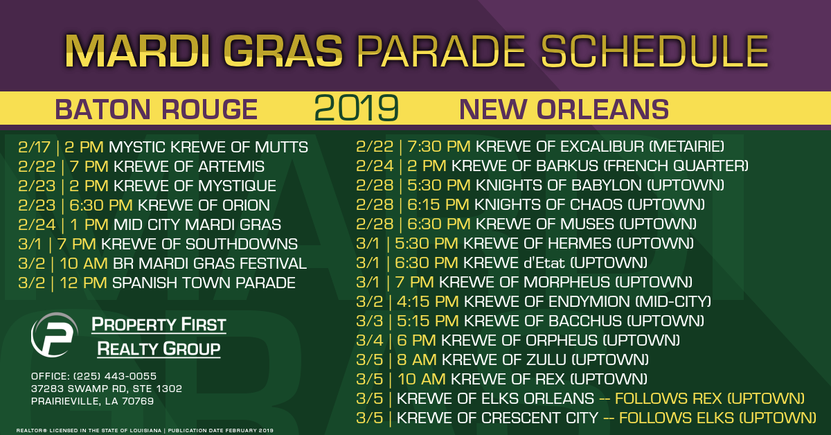 2019 Mardi Gras Parade Schedule