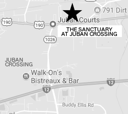 map location of The Sanctuary at Juban Crossing in Denham Springs