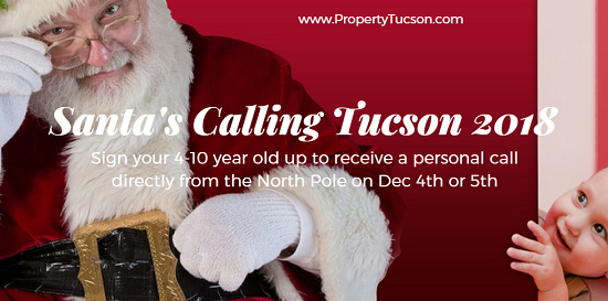 When you sign your 4-10 year old up for Santa's Calling Tucson 2018, they'll receive a phone call from the jolly old elf himself. Deadline for requests is Nov 29th.
