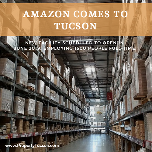 Amazon is building a new 855,000 square foot fulfillment center in the City of Tucson. It opens in June 2019, employing 1500 full-time workers.