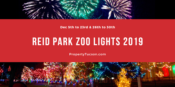 What better than the zoo during the day? Reid Park Zoo Lights 2019 in Tucson at night! Over a million twinkling lights light up the zoo at night throughout the month of December.