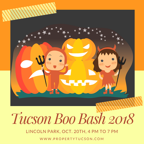Children of all ages (from 9 months to 99 years old) are encouraged to dress up in their favorite costumes and visit Lincoln Park on Oct 20th for the Tucson Boo Bash 2018. Food, games, inflatables, and a costume parade await all who come.