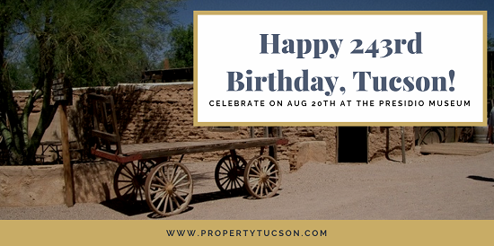 The official Tucson's birthday party takes place on August 20th at the Presidio Museum. Enjoy a pre-birthday celebration at Southern AZ Transportation Museum on the 19th.