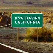 leaving california road sign
