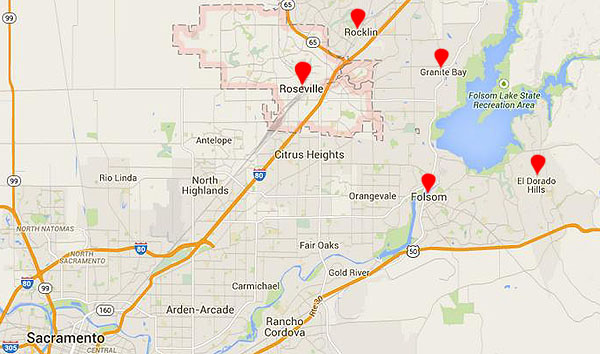 Map of Roseville CA and Nearby Cities