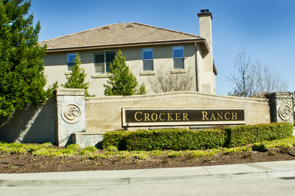 The Crocker Ranch entrance sign