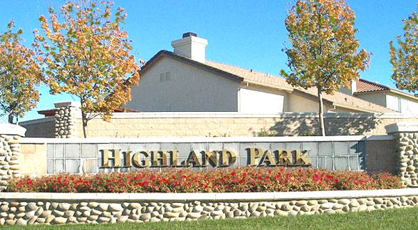 Highland Park Entrance in Roseville CA
