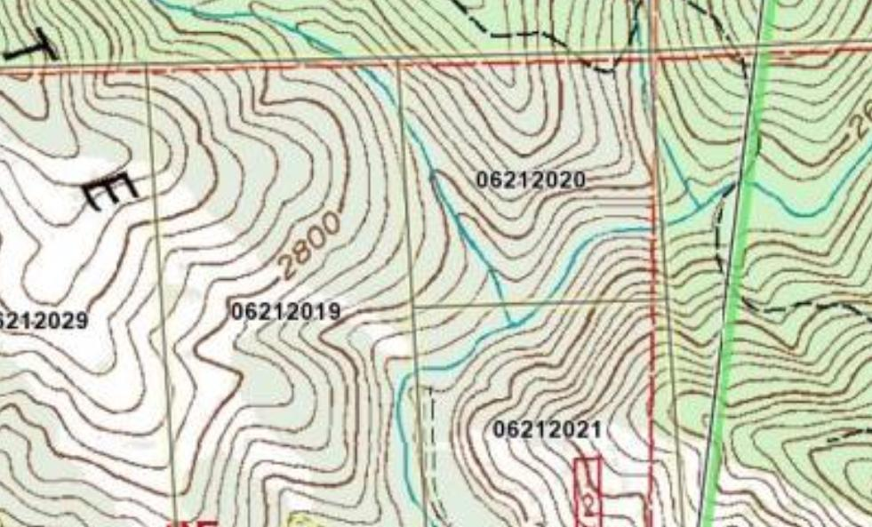 Blow up of Composition - Topo Map of Northeast Quarter of Northeast Quarter of Section 53