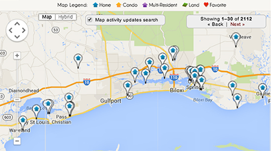 Mississippi Gulf Coast MLS Area Map Search