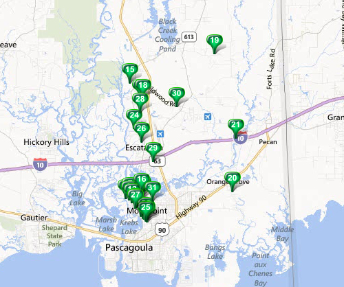 Moss Point - MLS Area Map Available Properties