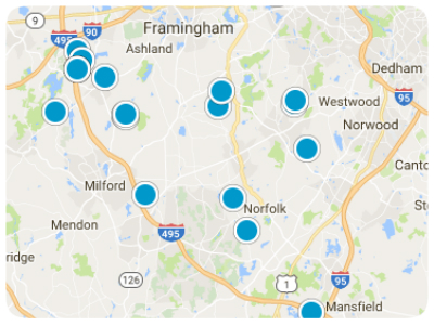 Franklin, Medfield, Walpole, and Bellingham Real Estate Map Search