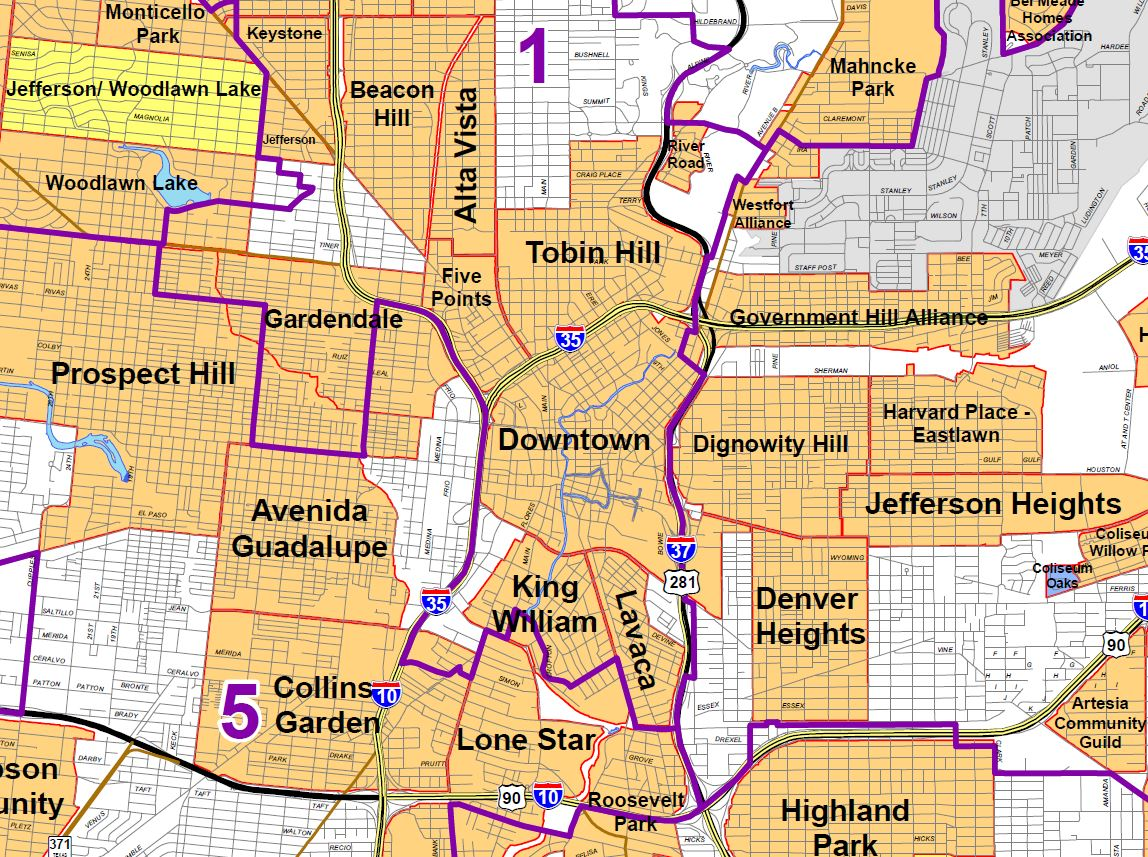 Antonio Neighborhood Map Downtown Midtown