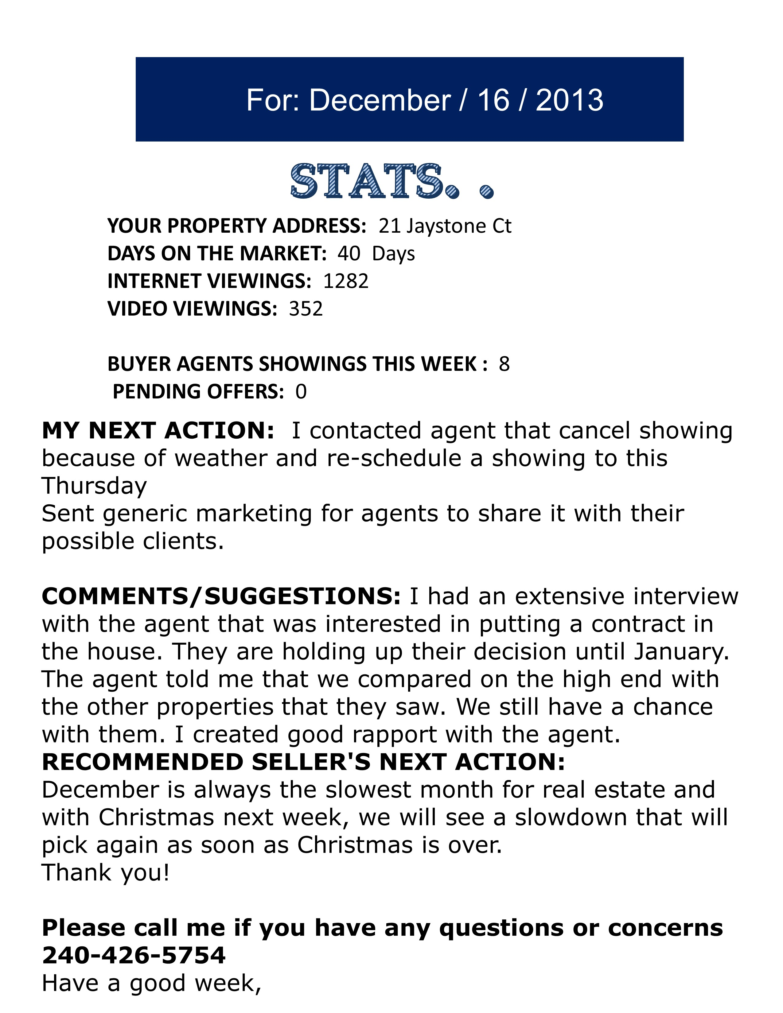 Sample Our Weekly Feedback Report To Our Sellers – Sample of Weekly Report