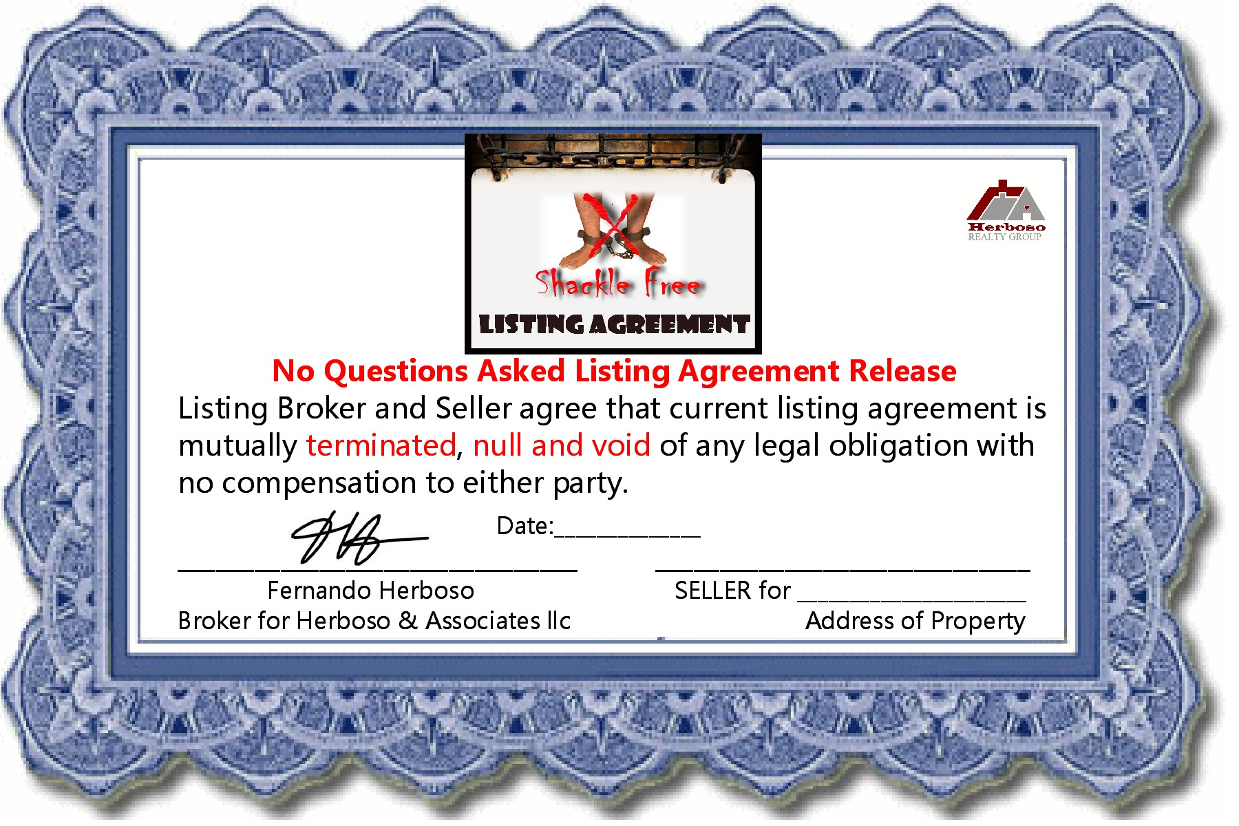 One Day Listing Agreement