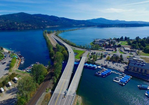 Aerial Sandpoint Photography Looking south over the Long Bridge