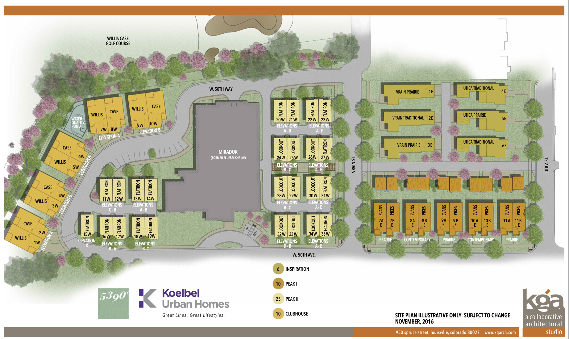 5390' Community by Koelbel in the Berkeley Tennyson Neighborhood Denver New Construction Homes For Sale Site Map